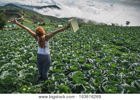 Woman stands reading on a garden turnip. Morning atmosphere The mountains are foggy. phetchabun phutubberg thailand
