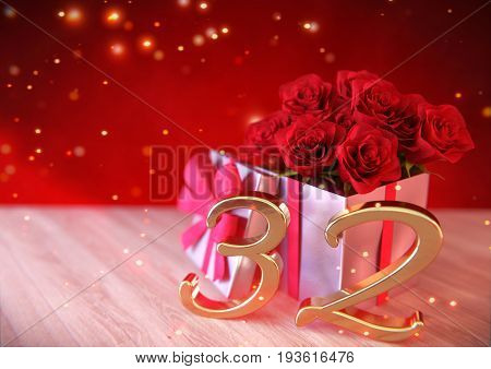 birthday concept with red roses in the gift on wooden desk. 3D render - thirty-second birthday. 32nd