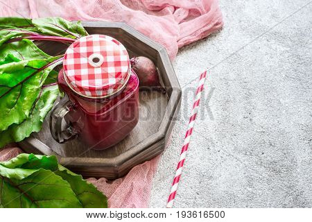 Detox drink Of beets. Red smoothies detox concept. copy space