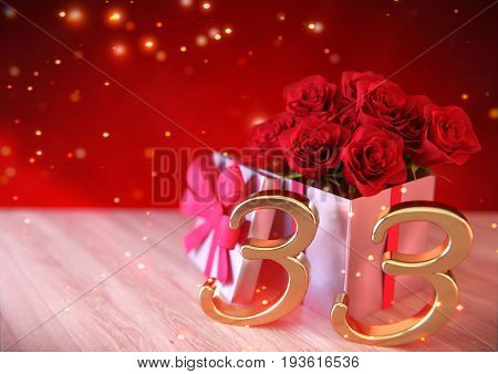 birthday concept with red roses in the gift on wooden desk. 3D render - thirty-third birthday. 33rd