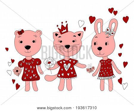 hand drawn portrait of cute Bunny, bear, cat in a dress. vector illustration of a girlfriend in red.