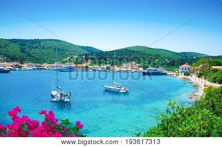 Panorama over Kefalonia seaport and beach, in Lefkada island, Greece