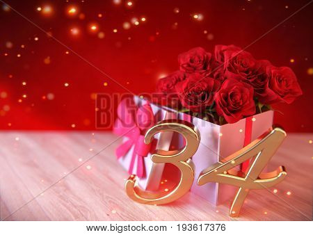 birthday concept with red roses in the gift on wooden desk. 3D render - thirty-fourth birthday. 34th