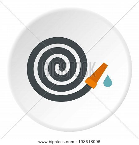 Garden hose icon in flat circle isolated vector illustration for web