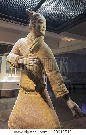 Xian China; May 30; 2017 The famous Standing Archer unearthed in Pit 2 of the Terracotta Army. Xian Shaanxi province China