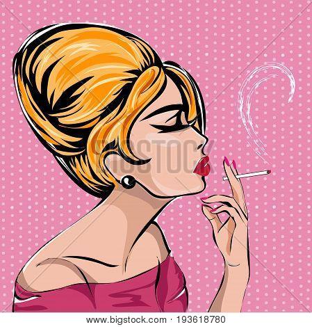 Retro Fashion Woman Smoking Cigarette. Blonde Lady Profile Portrait On Pink Background, Vintage Styl