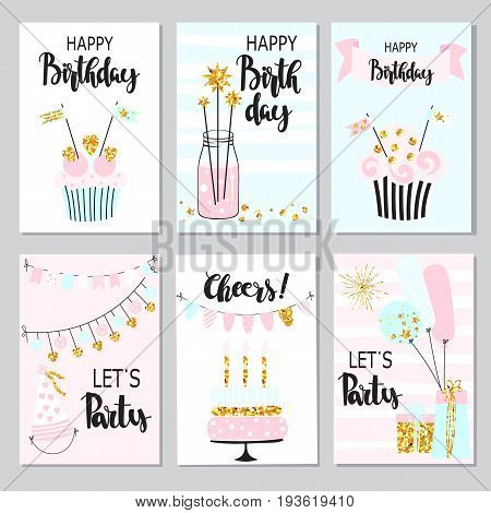 Happy birthday greeting card and party invitation templates, collection with cake, balloons, sparkler and garlands. Festive backgrounds in vector.