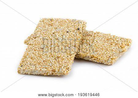 Granola Bar (white Sesame Bar) On White Background