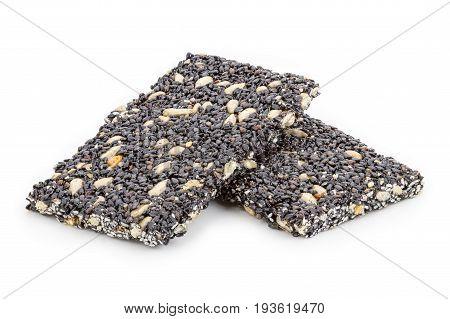 Granola Bar (black Sesame Bar) On White Background