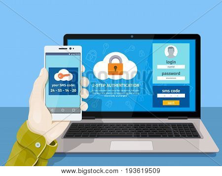 Flat man sitting at desktop and getting access to the website. Two steps authentication on computer. A man is sitting at a laptop with a mobile phone in his hand. Raster image for website