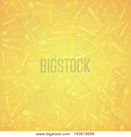 Silverware pattern. Spoons, knives, forks silhouettes. Gold watercolor background, yellow objects. vector illustration.