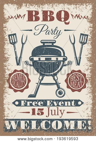BBQ party vintage colored poster with equipment for bbq