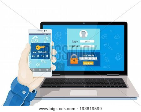 Flat man sitting at desktop and getting access to the website. 2-step authentication SMS code password concept. A man is sitting at a laptop with a mobile phone in his hand. Raster image for website