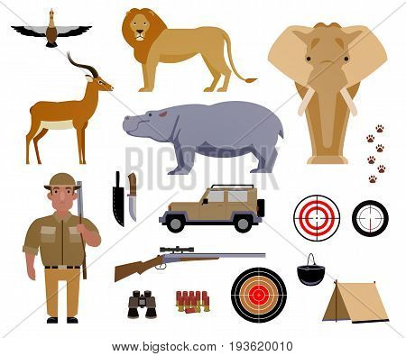 Hunter, hunting, game, hobby, sport. Poaching, crime. Wild animals and birds of Africa. Set of elements for design.Vector illustration EPS 10.