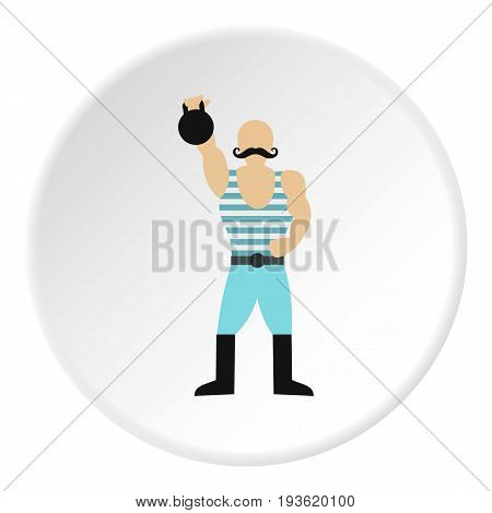 Weightlifter in the circus icon in flat circle isolated vector illustration for web