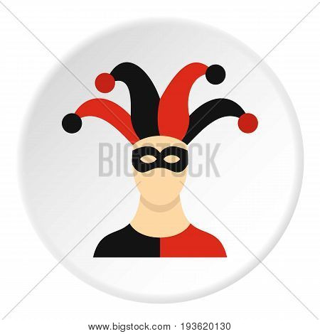 Jester with cap icon in flat circle isolated vector illustration for web