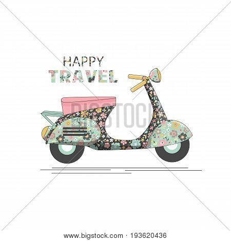 Scooter with floral pattern and inscription - happy travel - on a white background. Vintage scooter poster design, summer traveling.