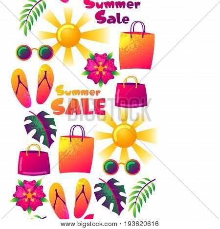 Summer sale seamless pattern with colorful elements. Sun, palm leaves and shopping bags.