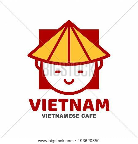 Vietnam logo template design. Vector modern line outline flat style cartoon character illustration icon. Isolated on white background.Concept creative card logo for street Vietnamese asian food cafe