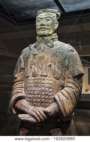 Xian China May 30 2017 One of eight generals unearthed of the world famous Terracotta Army part of the Mausoleum of the First Qin Emperor and a UNESCO World Heritage Site located in Xian China