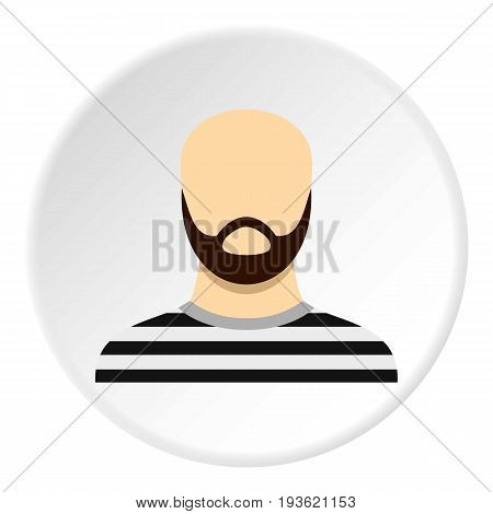 Prisoner with a beard icon in flat circle isolated vector illustration for web