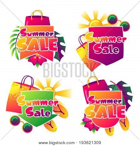 Summer sale labels with colorful elements. Sun, palm leaves and shopping bags.