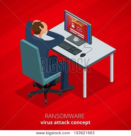 Ransomware, malicious software that blocks access to the victims data. Hacker attacks network. Isometric vector illustration. Internet crime concept. E-mail spam viruses bank account hacking