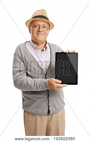 Elderly man showing a tablet isolated on white background