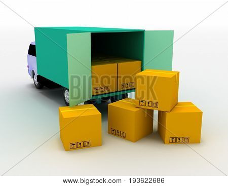 truck with boxes . 3d rendered illustration