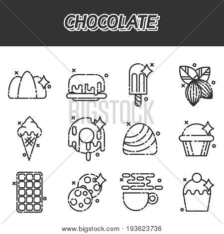 Chocolate cartoon concept icons. Tasty chocolate. Drips chocolate. Vector illustration, EPS 10