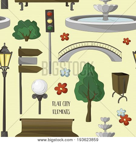City street urban elements icon pattern. Lights and outdoor elements for construction of city, park and outdoor landscapes.