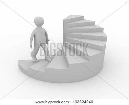 3d man on stairs success . 3d  rendered illustration