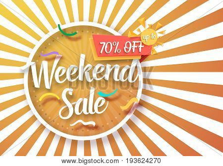 Illustration of Weekend Sale Vector Poster with Sunburs Lines on Background. Bright Sale Flyer Template