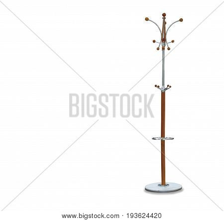 High big wooden hanger isolated over white
