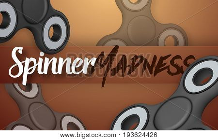 Illustration of Vector Fidget Spinner Gadget Icon. Realistic Spinning Toy Hand Spinner with Spinner Madness Lettering