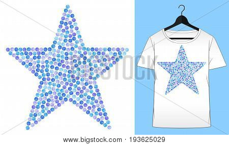 Rhinestones star. Transfer iron heat ornament. Gems diamonds jewelry decor. Embroidery. T-shirt simple mockup. Rhinestones appligue hot fix. Print for fabric or denin. Fashion trend.