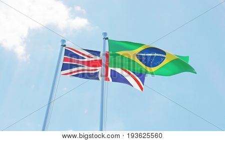 Great Britain and Brazil, two flags waving against blue sky. 3d image