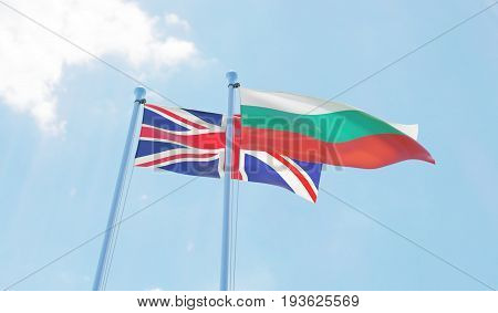 Great Britain and Bulgaria, two flags waving against blue sky. 3d image