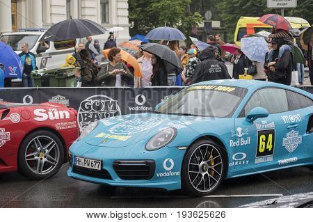 Riga, Latvia - July 01, 2017: Porsche Turbo S 991.2 (2016) from Gumball 3000 race Riga to Mykonos is on display. Riga host Gumball 3000 during the 2017 Rally being the starting grid destination.