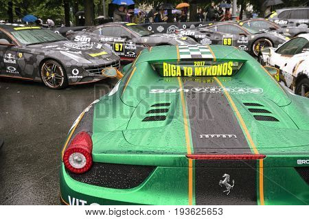Riga, Latvia - July 01, 2017: Ferrari 458 Spider from Gumball 3000 race is on display. Riga host Gumball 3000 during the 2017 Rally being both the starting grid and flag drop destination.