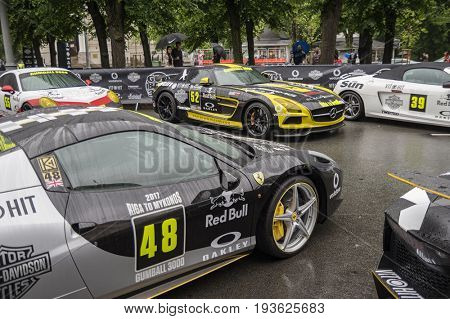 Riga, Latvia - July 01, 2017: Ferrari 458 Spider (2012) from Gumball 3000 race is on display. Riga host Gumball 3000 during the 2017 Rally being both the starting grid and flag drop destination.