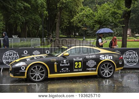 Riga, Latvia - July 01, 2017: Ferrari F12 (2013) from Gumball 3000 Race