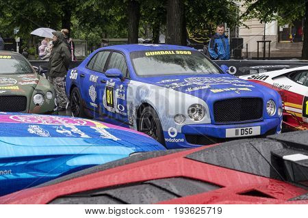 Riga, Latvia - July 01, 2017: Bentley Mulsanne (2013) from Gumball 3000 race is on display. Riga host Gumball 3000 during the 2017 Rally being both the starting grid and flag drop destination.