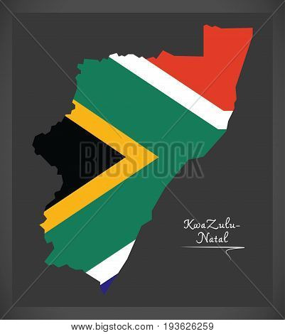 Kwazulu - Natal South Africa Map With National Flag Illustration
