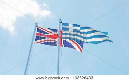 Great Britain and Greece, two flags waving against blue sky. 3d image