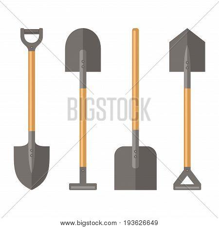 Shovel Set on White Background. Vector Illustration