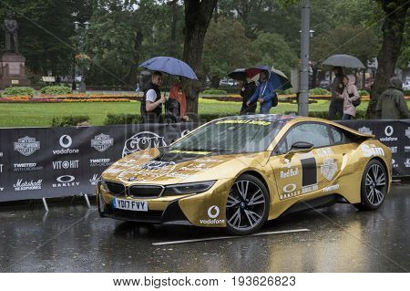 Riga, Latvia - July 01, 2017: BMW car from Gumball 3000 Race