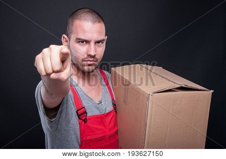 Mover Man Holding Box Pointing Camera