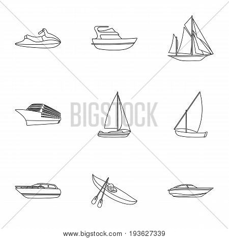 Sea transport, boats, ships. To transport people, thunderstorms. Ship and water transport icon in set collection on outline style vector symbol stock web illustration.