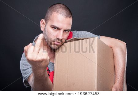 Angry Mover Man Holding Box Showing Obscene Gesture